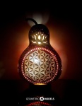 Flower of life gourd lamp – night view – front view