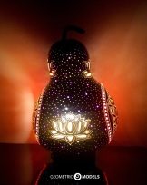 Flower of life gourd lamp - night view - side