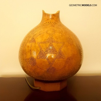 Merkaba and platonic solids gourd lamp - day time