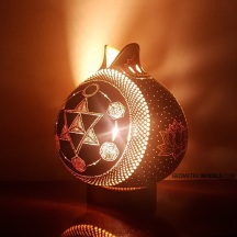 Merkaba and platonic solids gourd lamp - night view - side 02