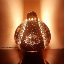 Merkaba and platonic solids gourd lamp - night view - side