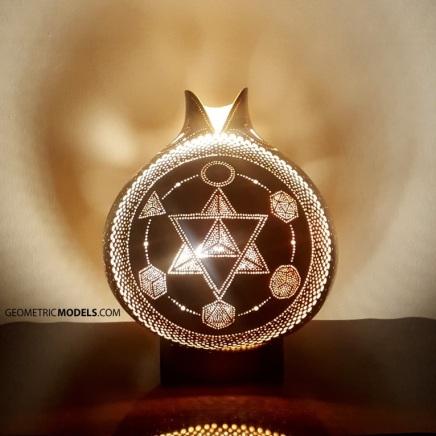 Merkaba and platonic solids gourd lamp - night view