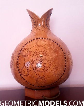 Sun gourd lamp with platonic solids - day time - back view