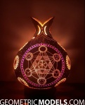Sun gourd lamp with platonic solids – night view – back