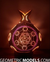 Sun gourd lamp with platonic solids - night view - back