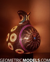 Sun gourd lamp with platonic solids - night view - side 02