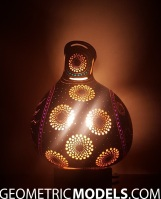 Sun gourd lamp with platonic solids - night view - side